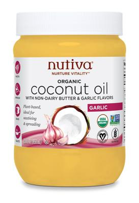 Nutiva Organic Coconut Oil with Butter & Garlic Flavors