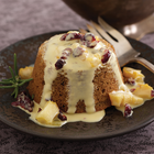 Chestnut Flour Bread Puddings with Dried Pears, Cranberries and Rosemary-Chestnut Honey Crème Anglaise