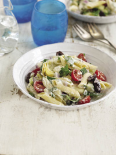 Greek Pasta Salad with Tzatziki Dressing