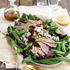 Smoked Duck Salad with Blue Cheese, Dried Cranberries, Sugar Snap Peas, and Pistachios